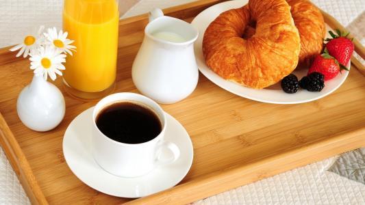 百吉饼,食品,早餐,咖啡,橙汁,床