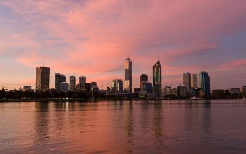 澳大利亚珀斯,摩天大楼,沙滩