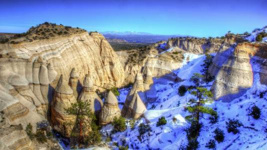 山,岩石,天空,雪,树木,美丽