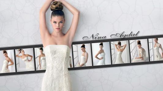尼娜·阿格达尔,性感,身材,腰部,看,脸,嘴唇,眼睛,裙子,背景,白色,美女