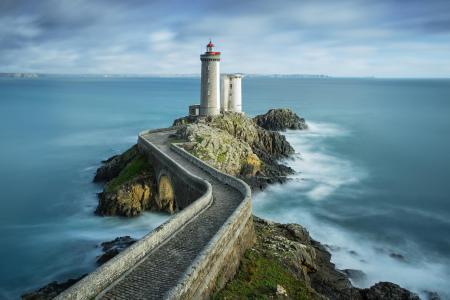 灯塔,路,海,岩石
