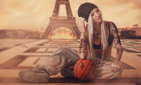 女孩,金发女郎,坐在,构成,模型,美女,摄影师,总理,装饰,链,纹身,衣服,胸罩,帽子