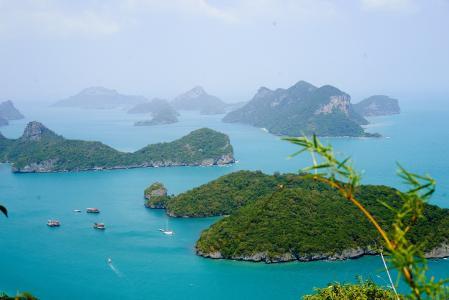 自然,美丽,苏梅岛,苏梅岛,绿,水,树木,植物,草,船,艇,skalay,山,石