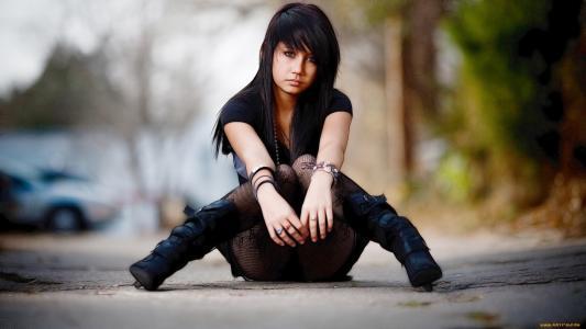 美丽,黑妞,丝袜,手镯,路