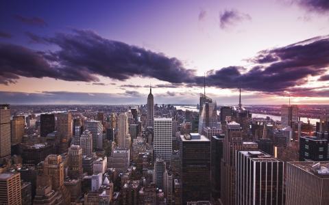 城市,黄昏,房屋,摩天大楼,晚上