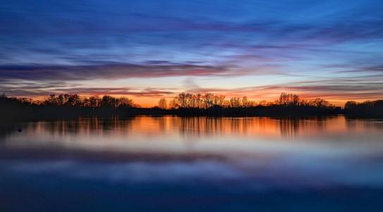 日落,天空别致,天空,水,云,侧影,美女,反思