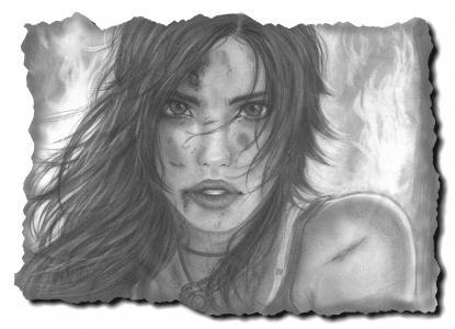 Lara Croft,古墓丽影,艺术,绘画,女孩,脸,看,嘴唇,头发,看
