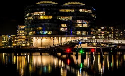 夜,城市,河,桥,灯,照明,建筑,美容,夜晚的城市,世界的城市