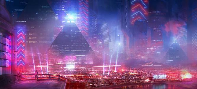 艺术,kingcloud,建筑物,人,未来的城市,灯