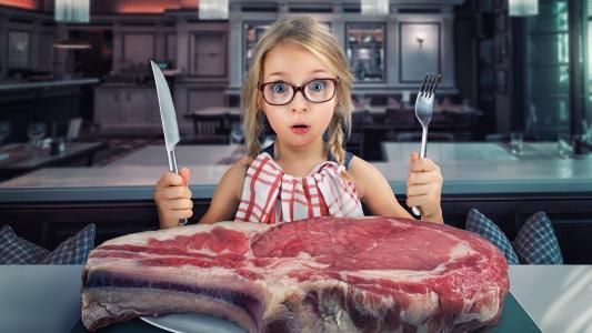 女孩,叉子,刀,晚餐,搞笑