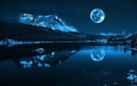 河,景观,自然,海,山,月亮,雪,水