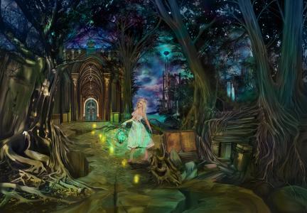 童话故事,幻想,古代书籍,晚上,仙境,盖茨,女孩,魔术,城堡,梦想家