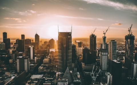 墨尔本,4k,城市景观,摩天大楼,建筑工地,澳大利亚