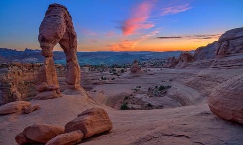 峡谷,岩石,拱,天空,云,美女,地平线,全景图