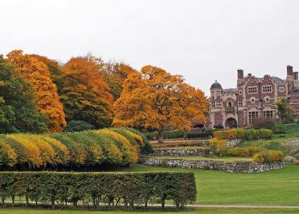 城堡,公园,秋天,halland,瑞典