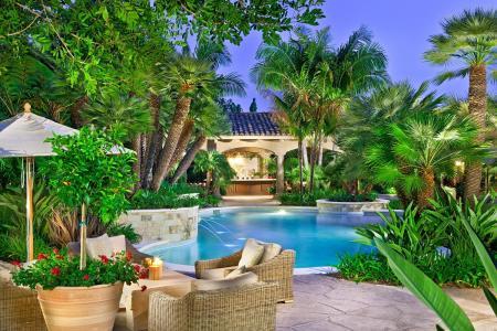 花瓶,喷泉,家具,游泳池,鲜花,棕榈树,室内装饰