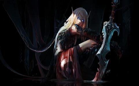 剑,耳朵,魔兽世界,陈博,精灵,艺术,精灵,女孩