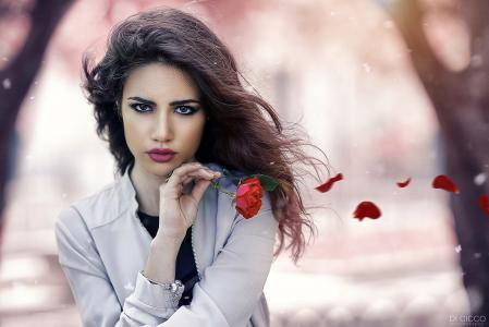 女孩,摄影师,亚历山德罗迪Cicco,模型,外观,化妆,玫瑰,花瓣