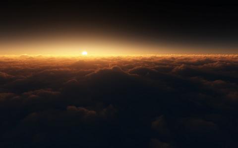 太阳,日落,云,夜
