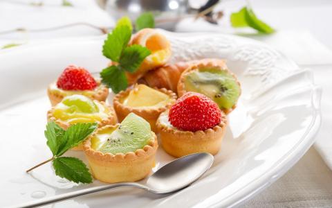 猕猴桃,甜,草莓,水果,叶子,食物,蛋糕