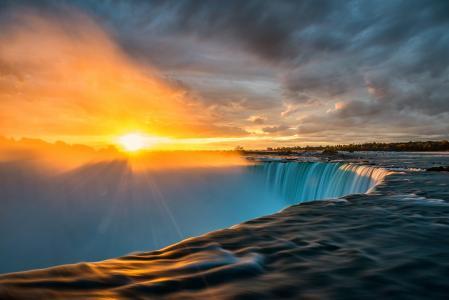 尼亚加拉,瀑布,水,河,天空,云,太阳,日落,性质