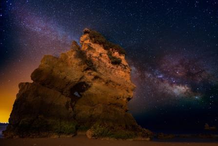 银河,星星,岸,岩,夜,海洋,沙滩,发光,城市,葡萄牙,瓦列里·罗曼诺夫