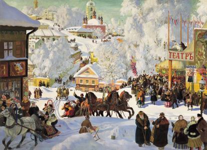 Kustodiev,绘画,度假,心情,三位一体