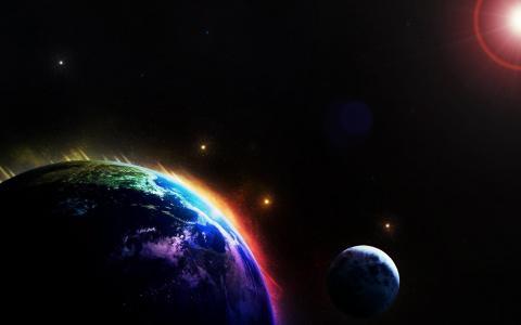 星星,星球,油漆,太阳,光明和黑暗,同伴