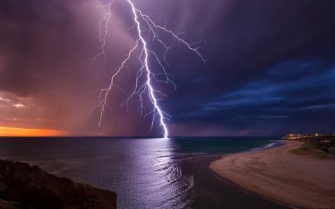 元素,闪电,晚上,日落,海,美丽