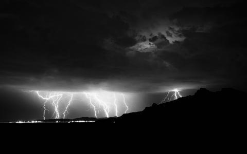 性质,城市,夜晚,黑色和白色,背景,雷暴,闪电,1000000000伏,400000和,天空,云,山