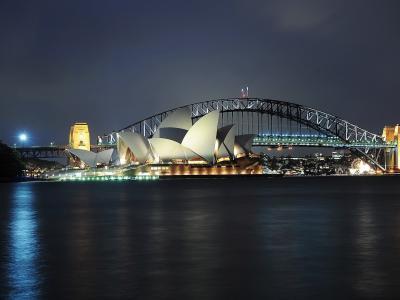 澳大利亚,悉尼,歌剧院,夜晚的城市