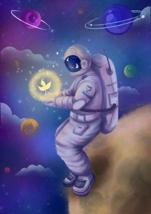 梦幻太空宇航员插画