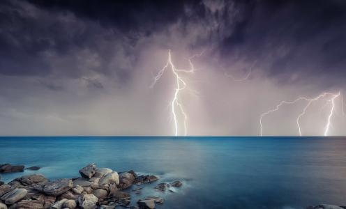 闪电,天堂别致,美女,云,海岸,水