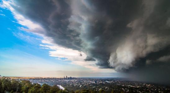 旋风,飓风,风暴,城市,云,美丽,危险