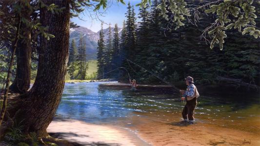 钓鱼,艺术,绘画,绘画,photoshop,山,河流,飞钓