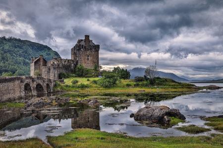 城堡,艾琳donan,性质,河,湾,桥,山,天空,云,阴,旗