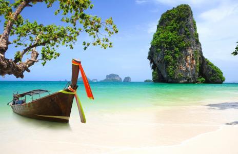 自然,海洋,山,海滩,船,天堂,热带,嗡嗡声