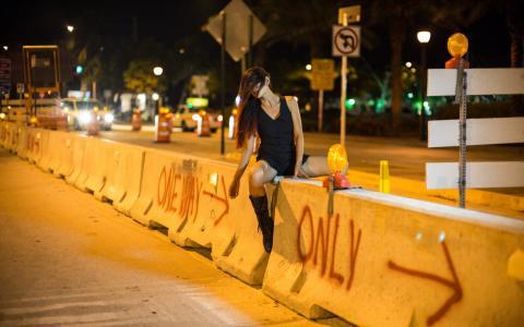 街,夜,城市,女孩
