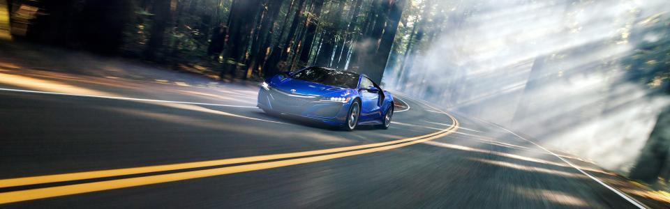 讴歌NSX,超级跑车,高山,森林,路,雾