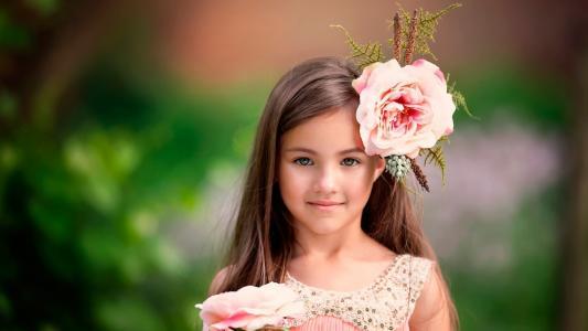 女孩,脸,看看,鲜花,模糊,背景