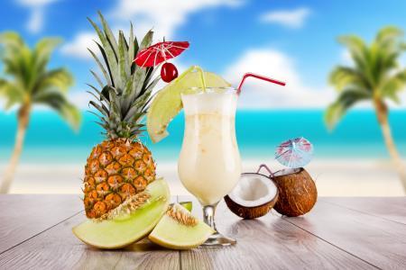 鸡尾酒,鸡尾酒,菠萝,食物,天空,玻璃,表,夏天,椰子