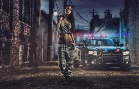 女孩,赃物,警察,轿车,道奇,闪光器,意见,头发,总理