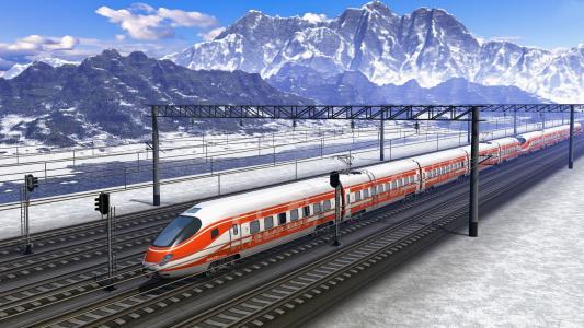 火车,机车,速度,自然,山,方式,雪,美丽
