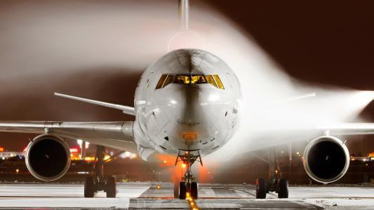 md 11,mcdonnell道格拉斯11,货物,飞机,夜间,机场,防冰