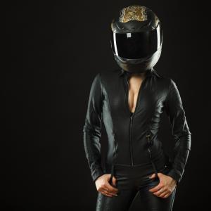 头盔,夹克,皮革,骑自行车的人