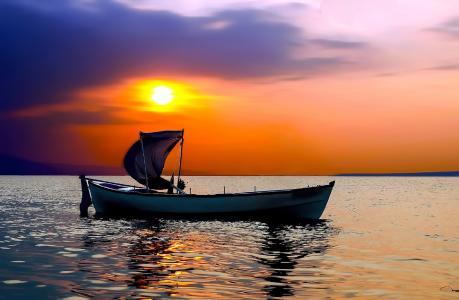 海,船,天空,日落,地平线