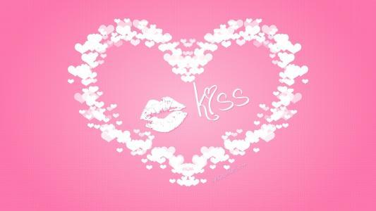 明信片,心脏,一个吻的痕迹,海绵