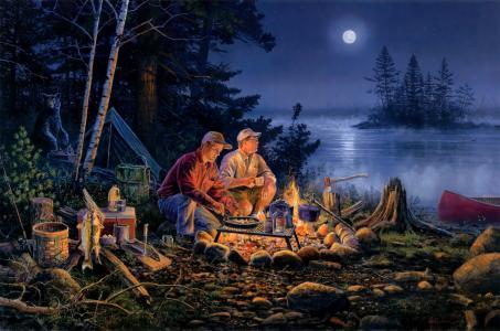 斯科特·佐利克,月亮,夜晚,森林,猜猜谁来吃晚饭,帐篷
