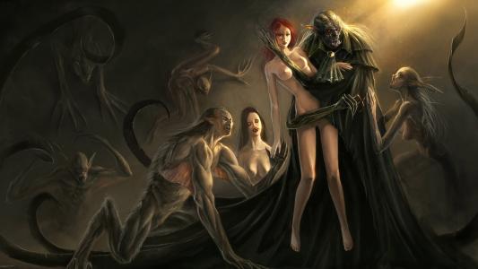 Nosferatu,吸血鬼,食尸鬼,女孩,受害者