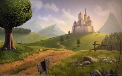 树,丘陵,去城堡的方式,赛迪斯马哈拉杰,城堡,秋千,田野